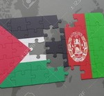 puzzle with the national flag of palestine and afghanistan on a world map background.